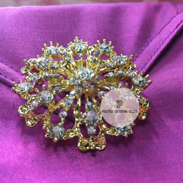 Golden brooch with Czech rhinestone crystal