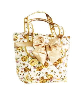 quilted satin & cotton handbag
