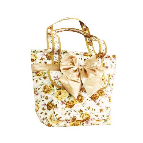 quilted satin & cotton handbag
