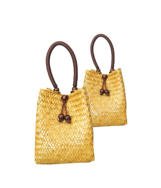 Handmade yellow bamboo handbag