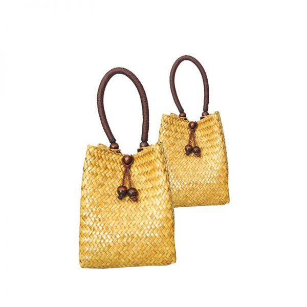 Handmade yellow bamboo handbag