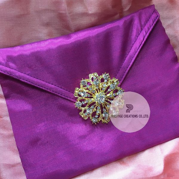 rhinestone brooch embellished silk wedding envelope