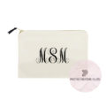 Personalized cotton cosmetic bag with monogram