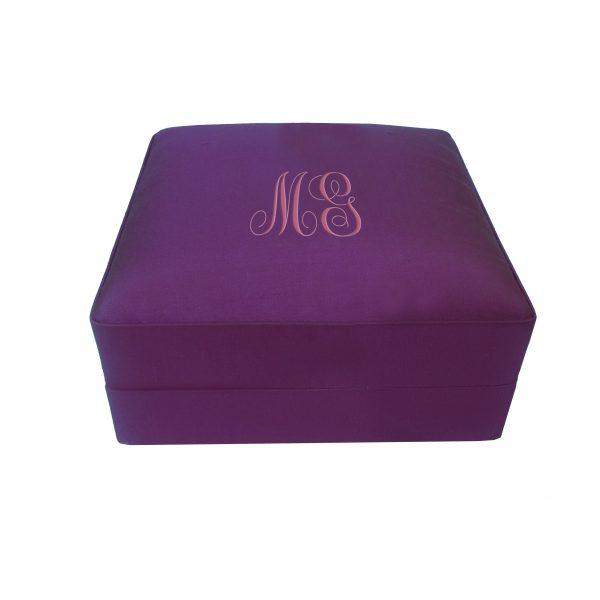 Embroidered silk jewelry box