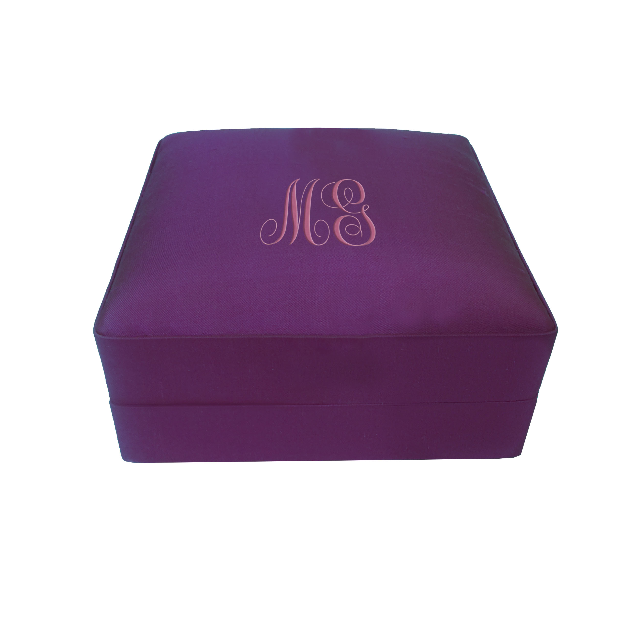 Monogram Embroidered Personalized Silk Jewelry Box For Premium Gift