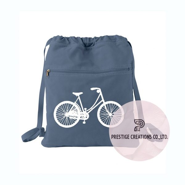 Printed grey cotton backpack with drawstring closure