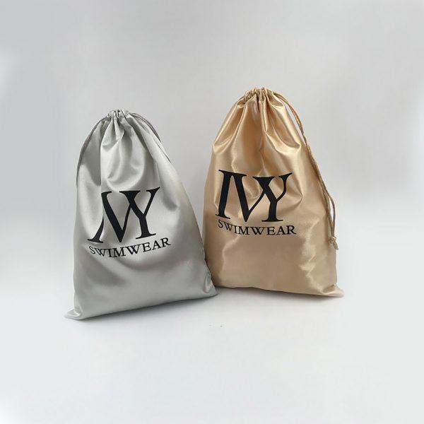 Logo printed satin drawstring bags