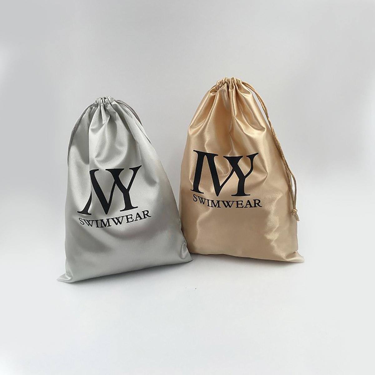 Golden Satin Drawstring Bag With Black Logo Print