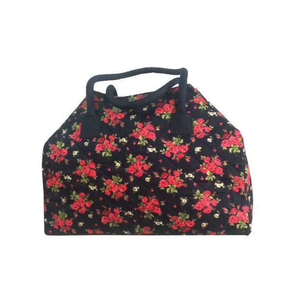 Cotton Handbag With Rose Pattern