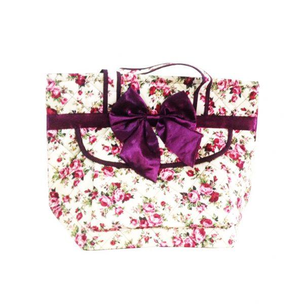 quilted flower cotton handbag