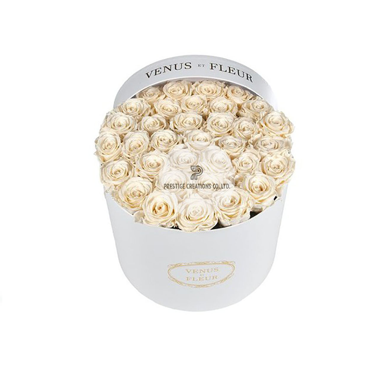 Round Flower Cardboard Box In White With Logo Print From