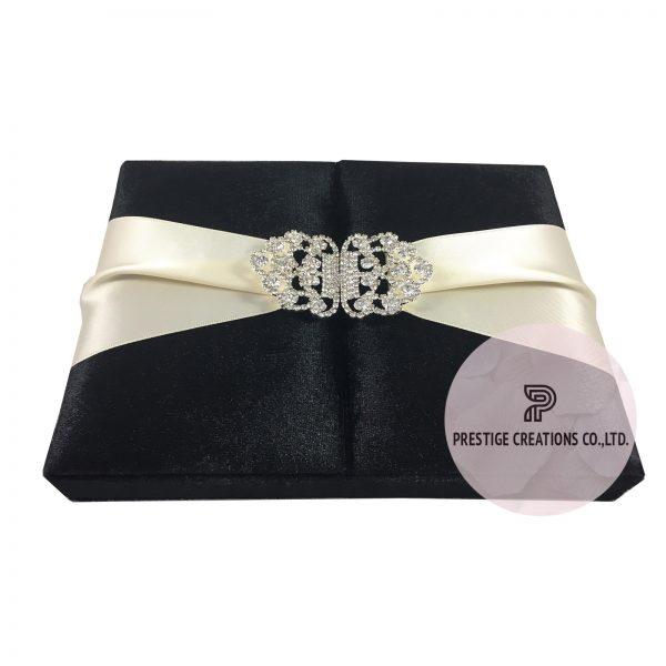 black velvet boxed wedding invitation