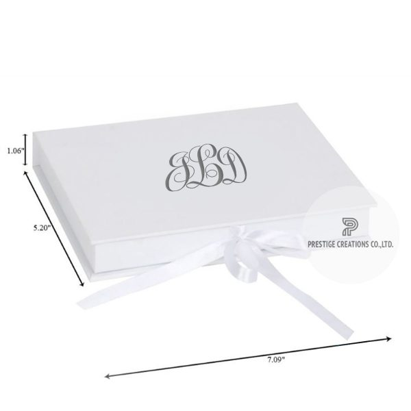 White monogram printed wedding box