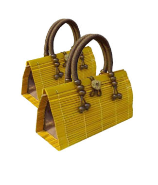Yellow bamboo handbag
