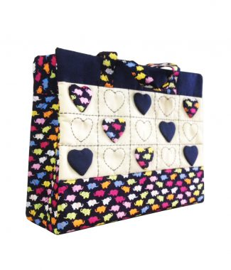 Thai cotton handbag with hearts and elephant pattern