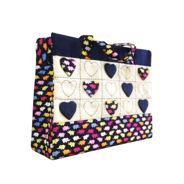 Thai cotton handbag with hearts and elephant pattern