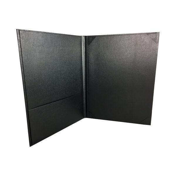 Black linen paper folder