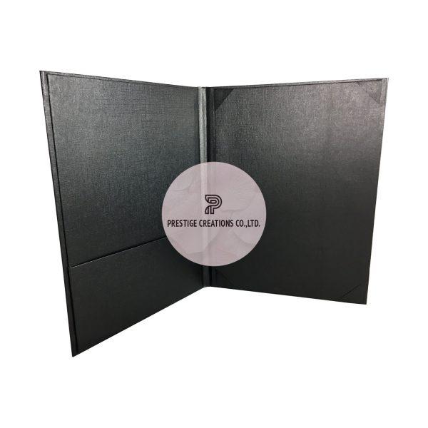 Black linen paper invitation folder