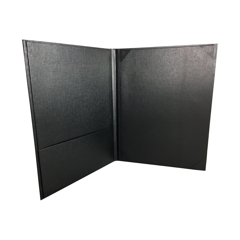 Metallic Red Monogram Foil Stamped Black Linen Paper