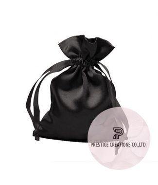 black satin drawstring bag