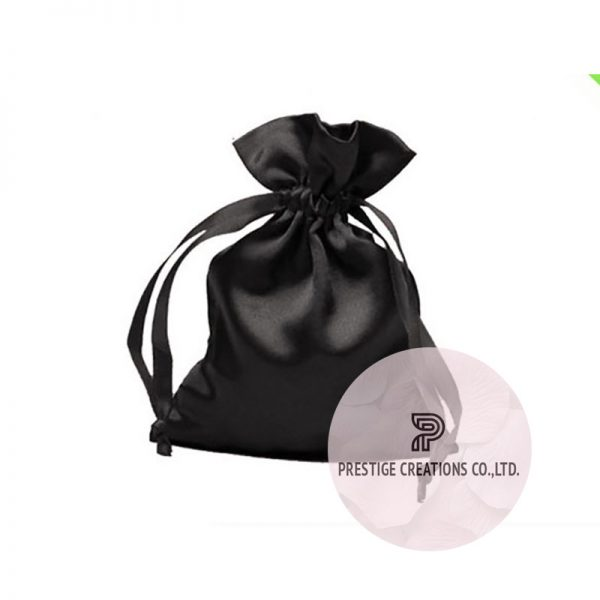 black satin drawstring bag