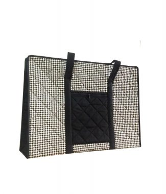 black and white quilted cotton handbag