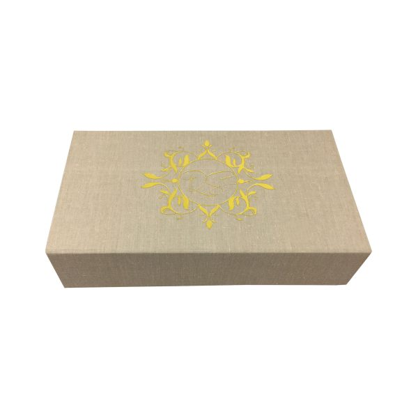 Gold foil stamped cotton box