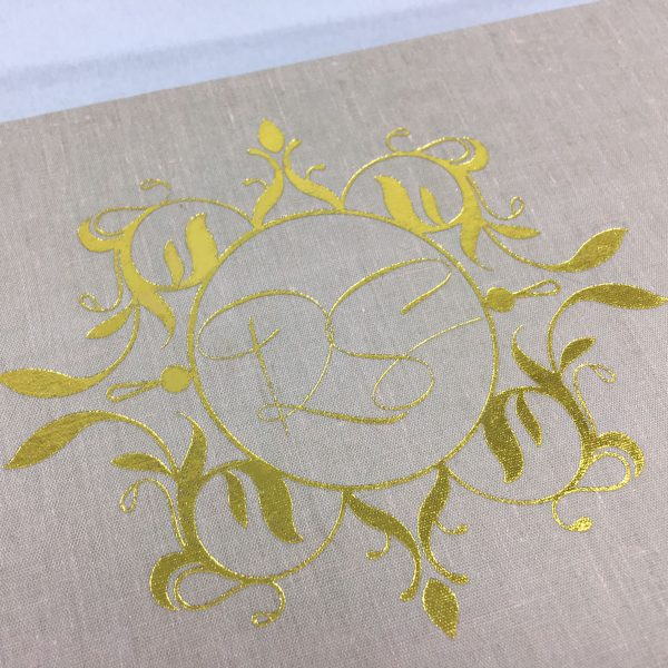 Gold monogram foil stamp