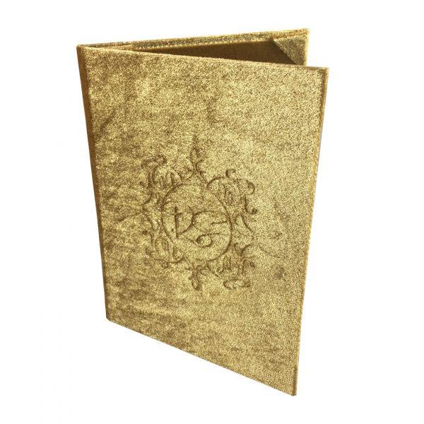 Golden monogram wedding invitations