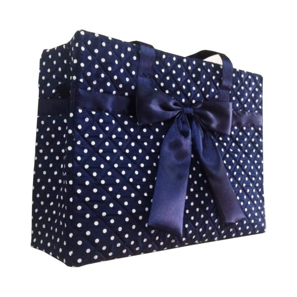 Blue polkadot quilted cotton handbag