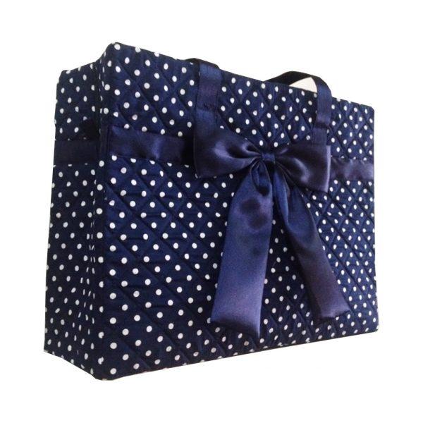 Blue polkadot quilted cotton handbag