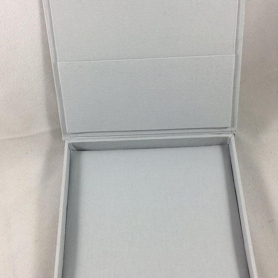 Vintage Monogram Foil Stamped Linen Wedding Box For Invitations