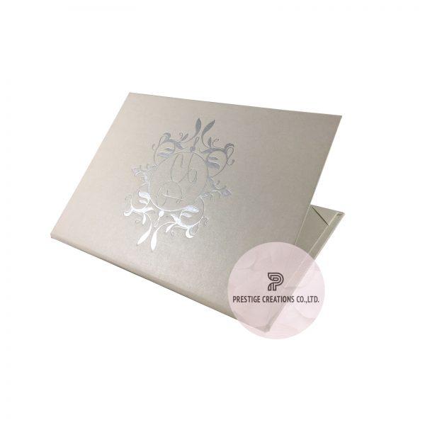 foil stamped paper wedding folder