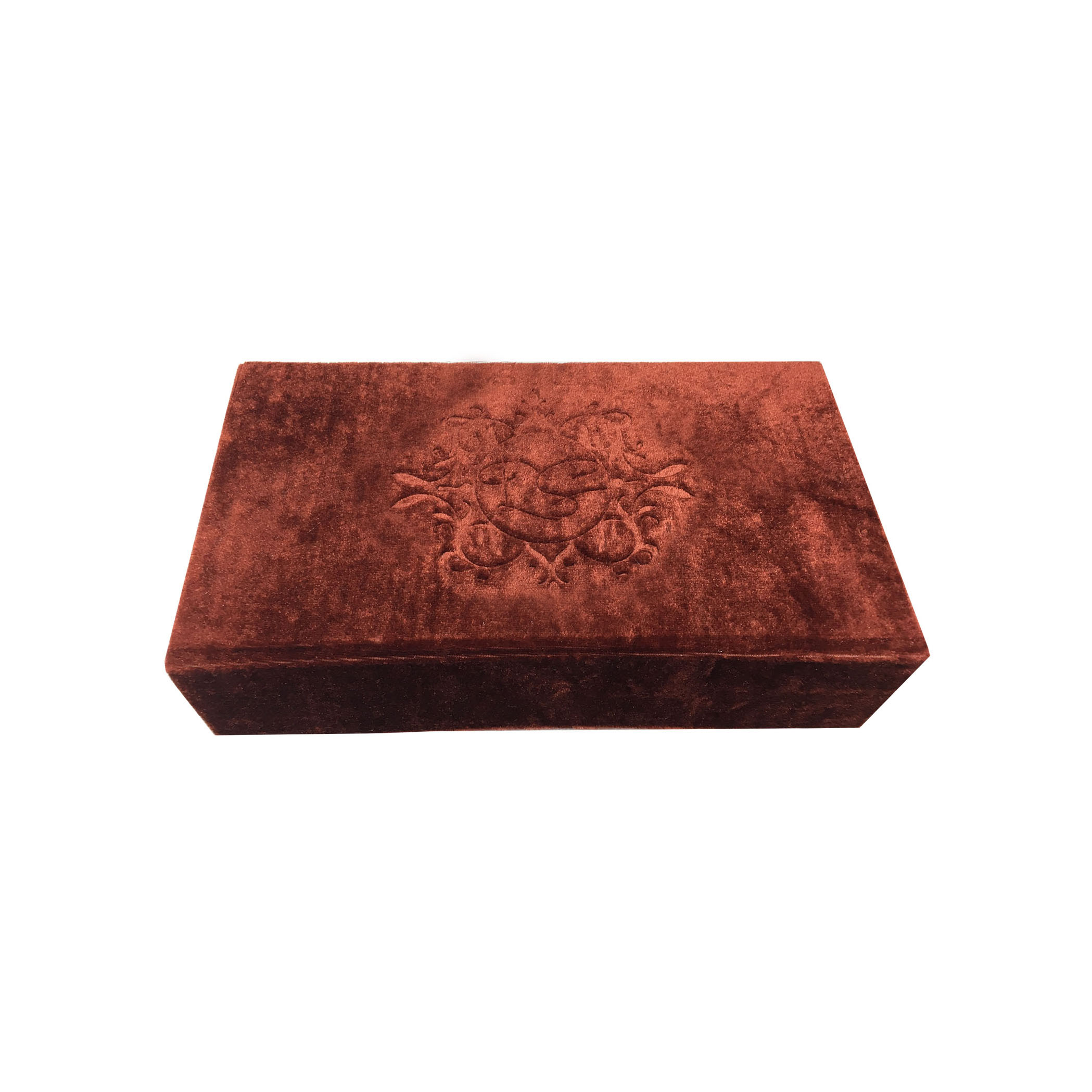 Vintage Monogram Embossed Velvet Box For Wedding Cards & Stationary