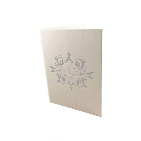 Paper wedding folder with foil stamped monogram
