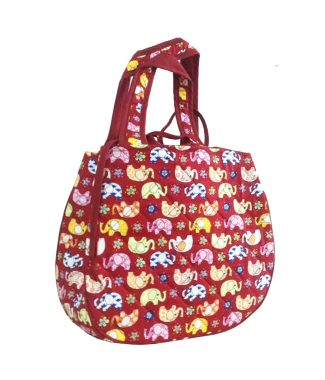 quilted red elephant cotton handbag
