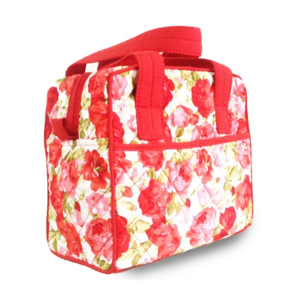 quilted rose pattern printed cotton handbag