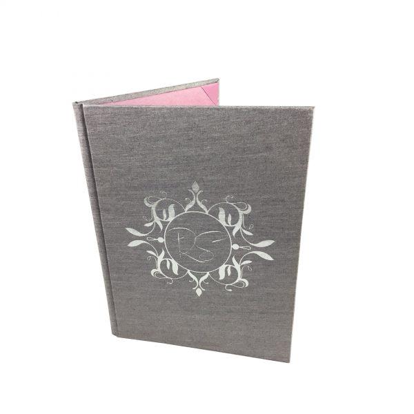 silver foil stamped monogram silk invitation folder