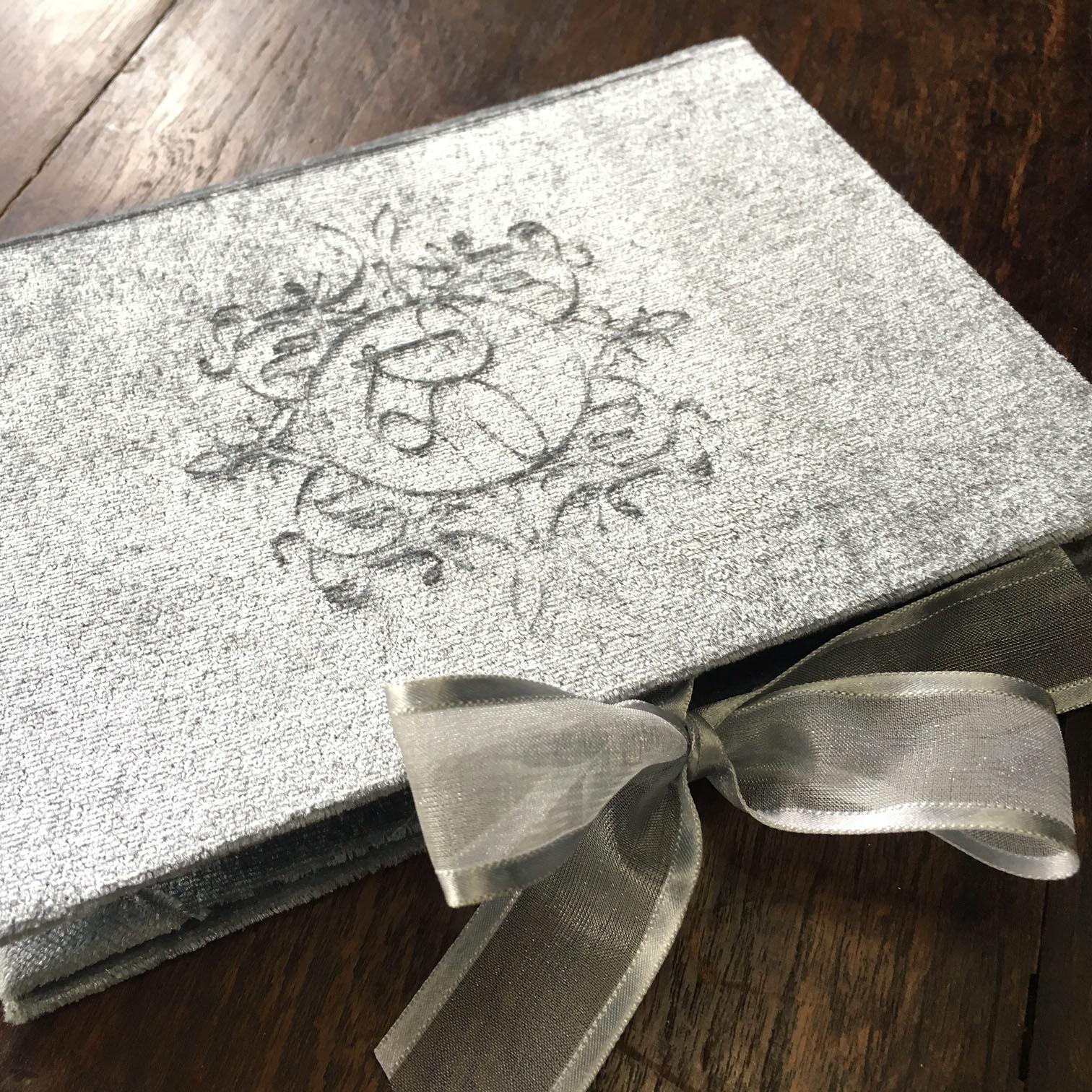 Blind Embossed Monogram Velvet Wedding Invitation Folder
