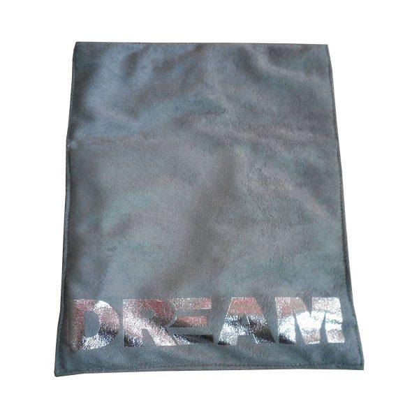 Silver foil stamped grey suede envelope