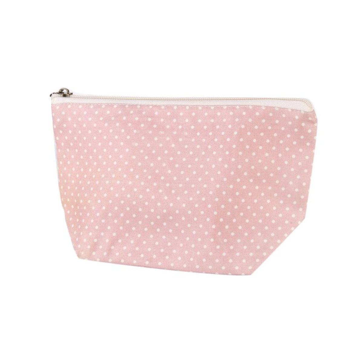 154f883018a2 Pink Polkadot Cotton Cosmetic Bag