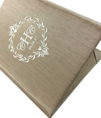 Embroidered silk pocket folder with wedding date and monogram