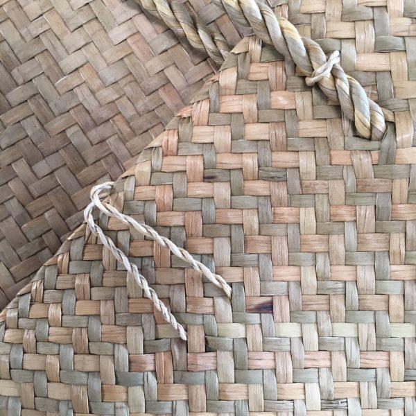 backside of sea grass handbag from Thailand