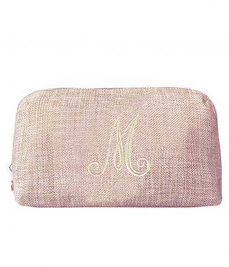 monogram embroidered zippered hemp cosmetic bag