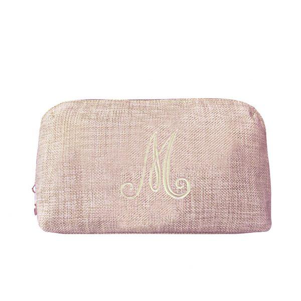 monogram embroidered zippered hemp cosmetic bag