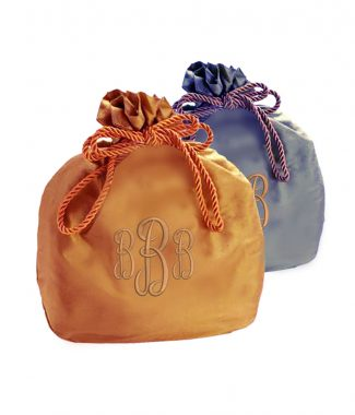 Monogram embroidered silk purse