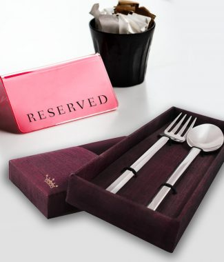 Spoon & fork Thai silk gift box