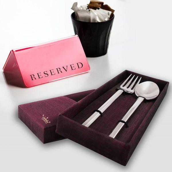 Spoon & fork Thai silk gift box