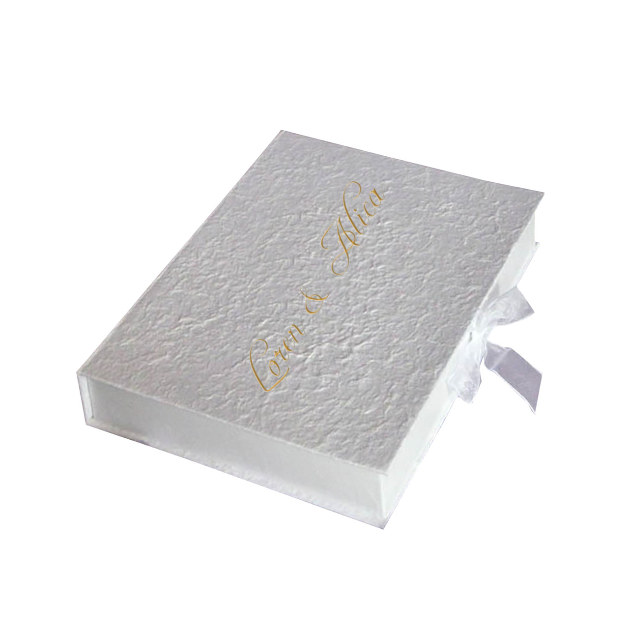 Beautiful Off White Mulberry Paper Wedding Box With Monogram Foil ...