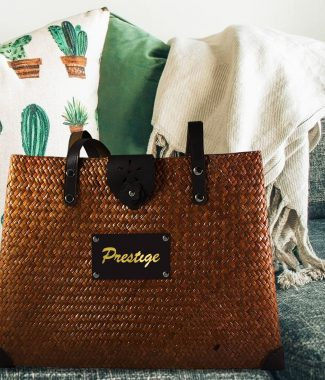 Bamboo beach bag with logo stamp